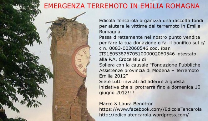 Volantino Raccolta Fondi terremoto 2012